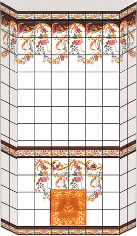 Dolls House Miniature Tiled Oven Sheet Red, Fireside - The Dolls House Store
