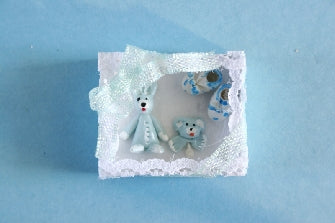 Dolls House Miniature Blue Baby Gift Box, Nursery - The Dolls House Store