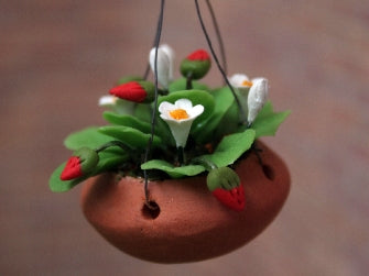 Dolls House Miniature Strawberries In Hanging Basket, Garden - The Dolls House Store