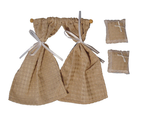 Dolls House Miniature Cream Diamond Cushion Set, Curtains - The Dolls House Store