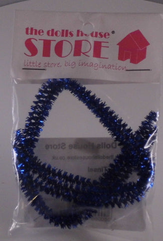 Dolls House Miniature Dark Blue Tinsel, Christmas - The Dolls House Store