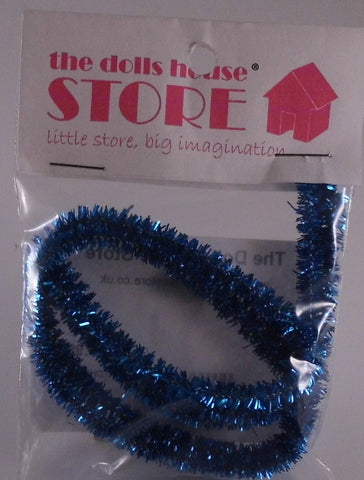 Dolls House Miniature Blue Tinsel, Christmas - The Dolls House Store