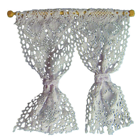 Dolls House Miniature Pair Of Net Curtains & Pole, Curtains - The Dolls House Store