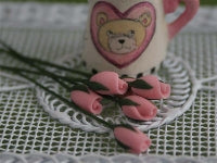 Dolls House Miniature Set Of 6 Flower Buds Pink, Flowers - The Dolls House Store