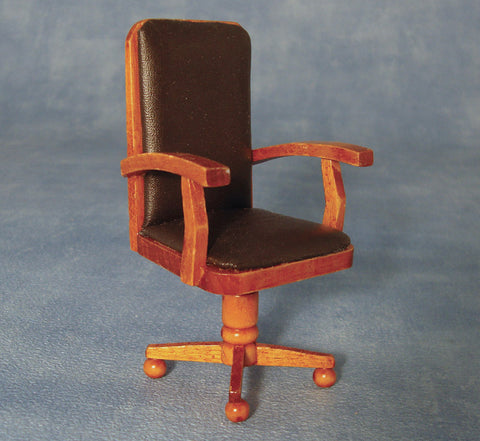 Dolls House Miniature Dark Wood Executive Chair, Study - The Dolls House Store