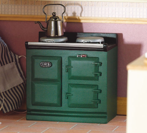 Dolls House Miniature Green Aga-Style Stove, Kitchen - The Dolls House Store