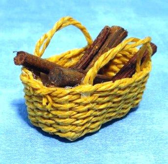 Dolls House Miniature Basket with Logs, Fireside - The Dolls House Store