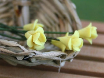 Dolls House Miniature Set Of 6 Small Flowers Yellow, Flowers - The Dolls House Store