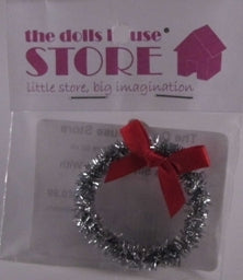 Dolls House Miniature Christmas Silver Wreath With Red Bow, Christmas - The Dolls House Store