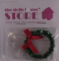 Dolls House Miniature Christmas Green Wreath With Red Bow, Christmas - The Dolls House Store