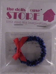 Dolls House Miniature Christmas Blue Wreath With Red Bow, Christmas - The Dolls House Store