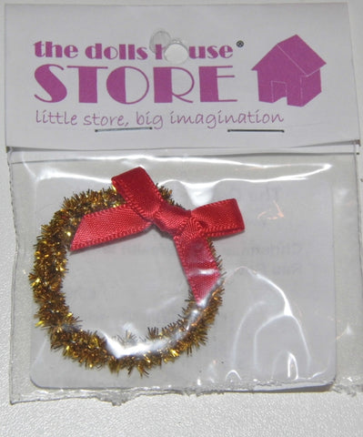 Dolls House Miniature Christmas Gold Wreath With Red Bow, Christmas - The Dolls House Store