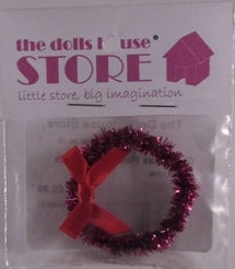 Dolls House Miniature Christmas Pink Wreath With Red Bow, Christmas - The Dolls House Store