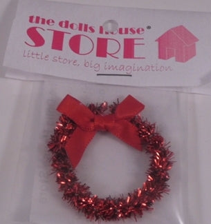 Dolls House Miniature Christmas Red Wreath With Red Bow, Christmas - The Dolls House Store