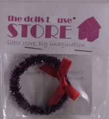 Dolls House Miniature Christmas Purple Wreath With Red Bow, Christmas - The Dolls House Store