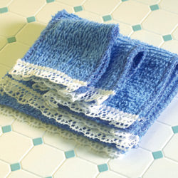 Dolls House Miniature Blue Towel Set 4 PC, Bathroom - The Dolls House Store