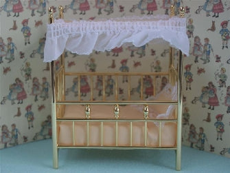 Dolls House Miniature Brass Four Poster Cot Bed, Nursery - The Dolls House Store