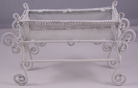 Dolls House Miniature White Wire Planter, White Wire Furniture - The Dolls House Store