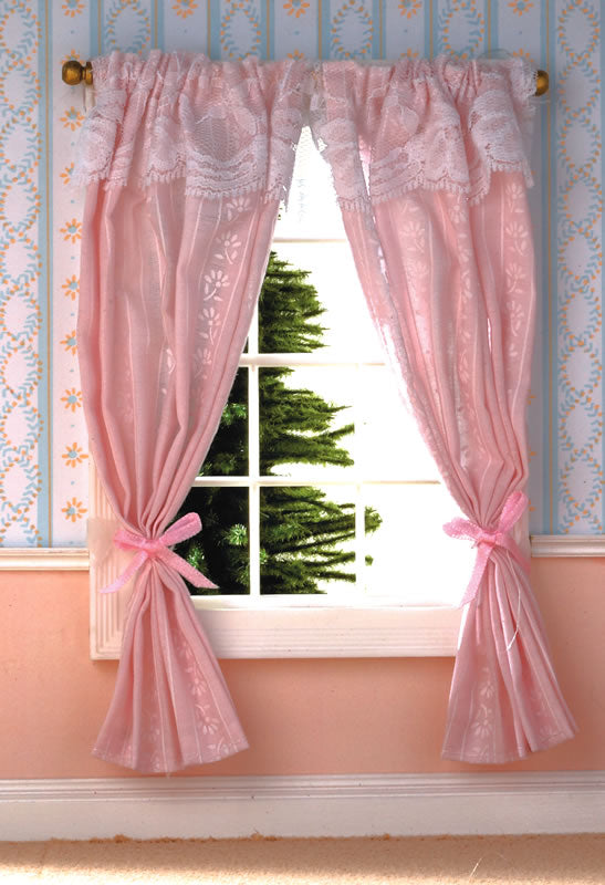 Dolls House Miniature Pale Pink Curtains On Rail, Curtains - The Dolls House Store