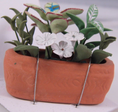 Dolls House Miniature Brown Flower pot With Flowers, Flowers - The Dolls House Store