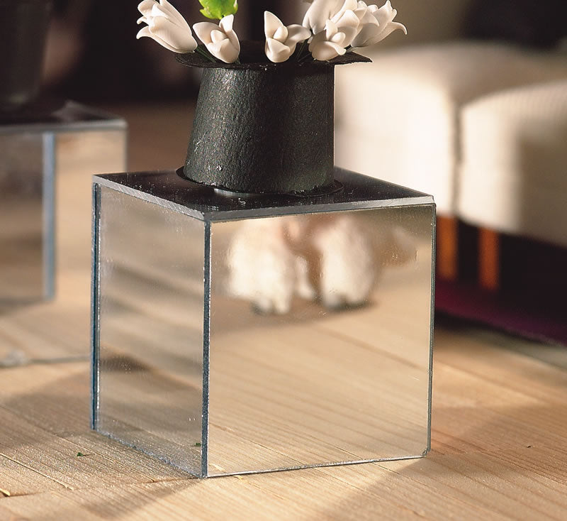 Dolls House Miniature Mirror Cube Table, Living Room - The Dolls House Store