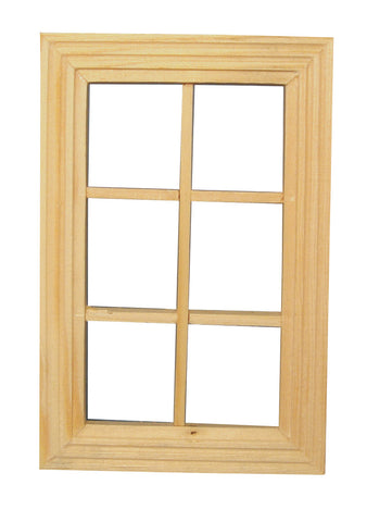 Dolls House Miniature 6 Pane Window Unpainted, Doors and Windows - The Dolls House Store