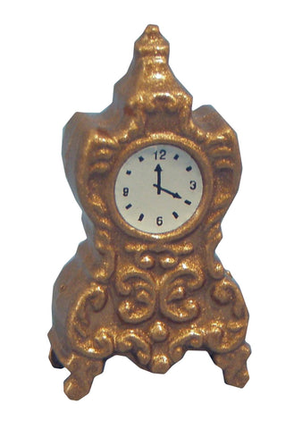 Dolls House Miniature Gold Mantle Clock, Clocks - The Dolls House Store