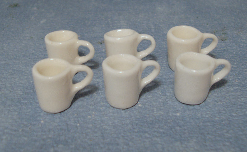 Dolls House Miniature Set Of 6 White Moden Mugs, Kitchen - The Dolls House Store