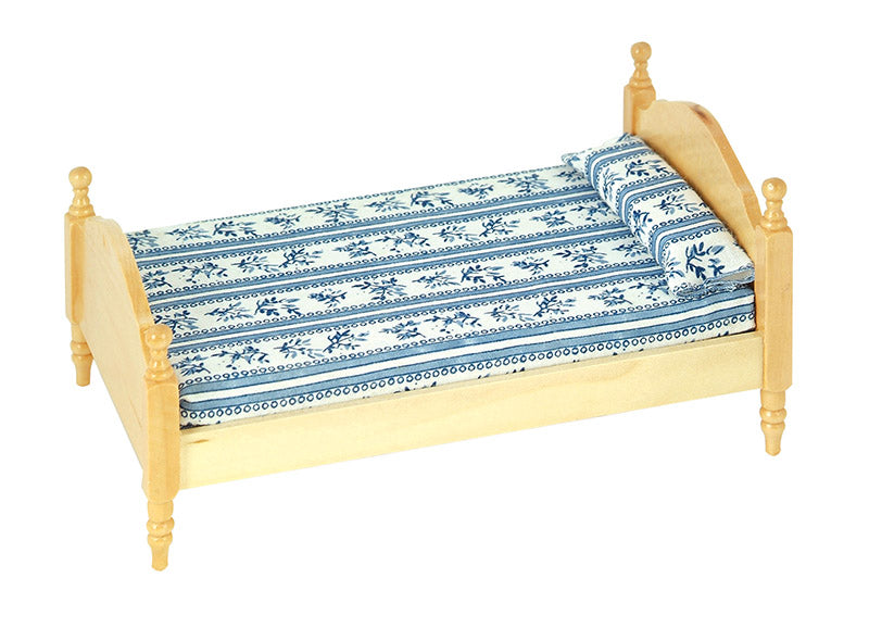 Dolls House Miniature Single Pine Bed, Bedroom - The Dolls House Store