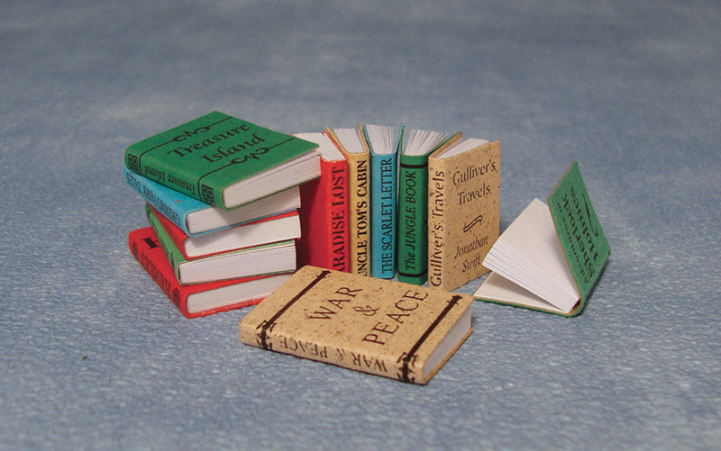 Dolls House Miniature Set Of 12 Books, Study - The Dolls House Store