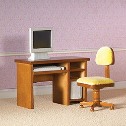 Dolls House Miniature Computer Desk & Chair, Study - The Dolls House Store