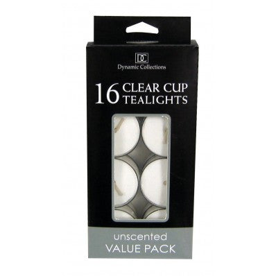 White Clear Cup Tealight Candles 16 pk