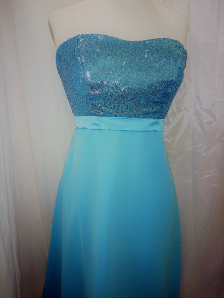 Turquoise strapless sequin dress