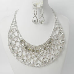 Clear Crystal in Silver Necklace set