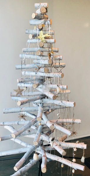 Real Decorative Birch Wood Christmas Tree & Stand