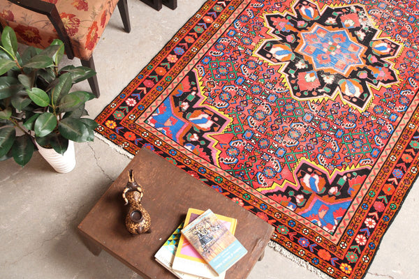 Oriental Hand Knotted Geometric 4x7 Orange persian Rugs