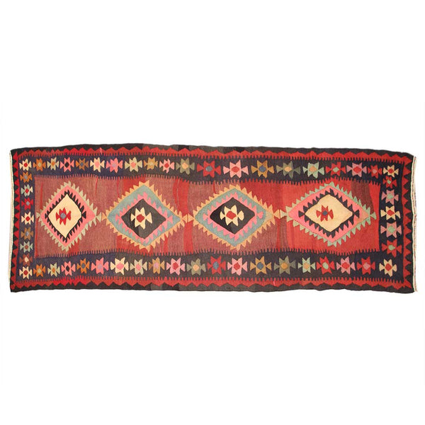 Vintage Hand Knotted Geometric 4x12 Red persian Runner Rugs