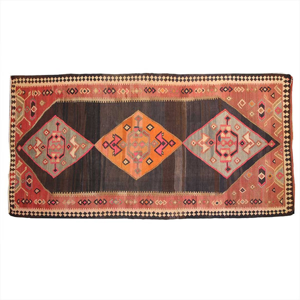 Antique Handmade Geometric 4x11 Brown persian kilim rugs