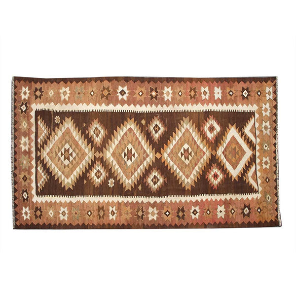 Vintage Hand Knotted Geometric 4x9 Brown persian kilim rugs