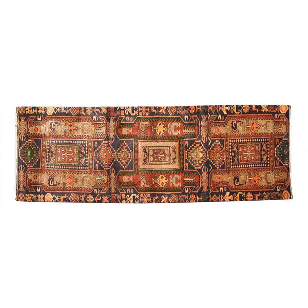 Distressed Handmade Geometric 2x9 Orange persian Runner Rugs