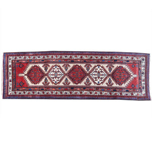 Hand Knotted Geometric Persian Vintage Red wool Runner Rugs 3x10