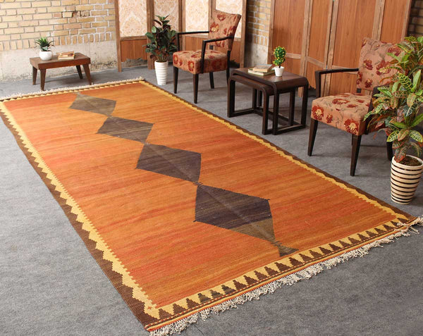 Traditional Hand Knotted Geometric 5x12 Orange persian kilim rugs