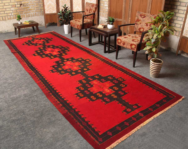 Traditional Handmade Geometric 4x12 Red persian Runner Rugs