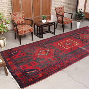 5x13 Wool Distressed Red And Black Handmade Persian area rug