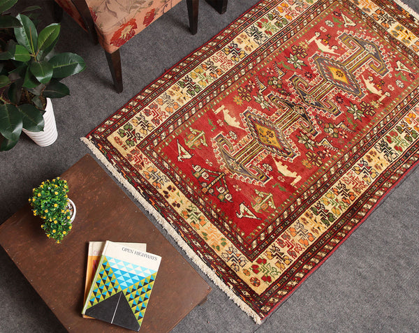 Antique Handmade Geometric 3x4 Red persian Rugs