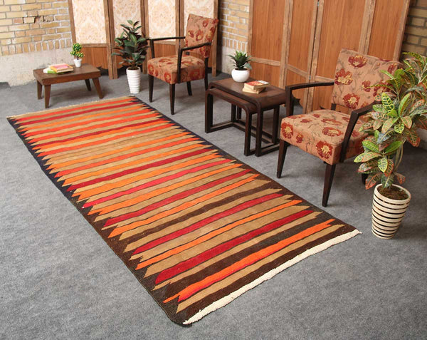 Oriental Handmade Geometric 4x9 Orange persian kilim rugs