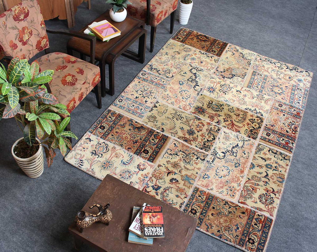 Handmade persian beige patchwork rug 5x7 outdoor rugs