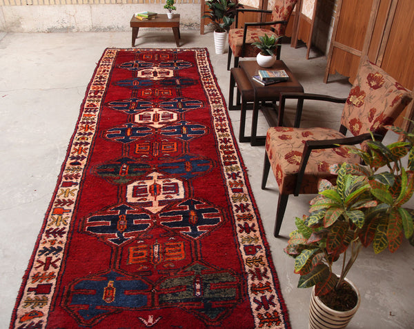 Vintage Handmade Geometric 4x12 Red persian Runner Rugs