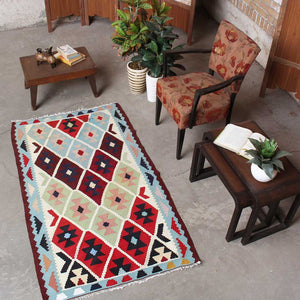 Hand Knotted Geometric Persian Traditional White wool kilim rugs 3x5