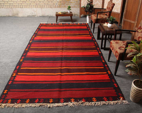 Traditional Handmade Geometric 5x11 Brown persian kilim rugs